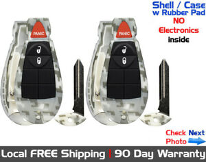 2x New Camouflage Replacement Remote Key Fob Shell Case For Chrysler Dodge Jeep