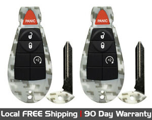 2x New Camouflage Replacement Keyless Remote Key Fob For Chrysler Dodge Jeep