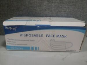 50 Pieces Disposable Face 3 Layers Anti dust Protective Mask blue