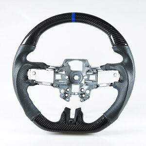 Carbon Fiber Leather Steering Wheel Blue For Ford Mustang 2019 2020 Facelift