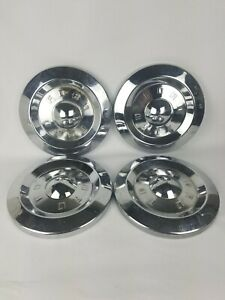Vintage Chrome 50s Ford Hubcaps Dog Dish Oen Set Of 4 10 5 8