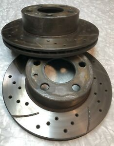 1975 1985 Volvo 240 Front Brake Rotors Pair Vented Cross Drilled Slotted