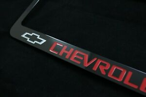 Chevrolet Black Metal License Plate Frame Holder Red Lettering