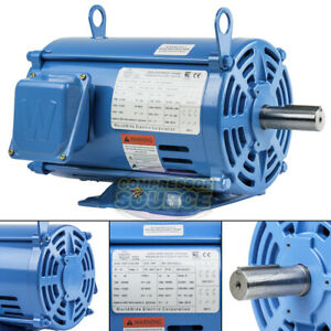 7 5 Hp 3 Phase Electric Motor 3500 Rpm 184t Frame Odp Open Drip Proof 230 460v