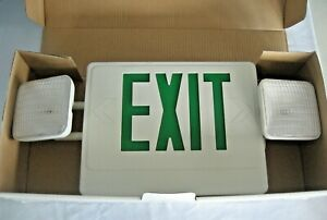 Led Green Exit Sign Emergency Light Ul Listed Dual Voltage 120 277 Lot Of 2