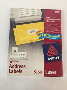 Avery White Address Labels 5160 Laser 3000 Labels