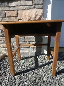 Antique Child S Primary School Wooden Desk With Glass Ink Well