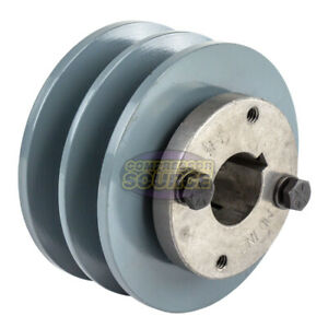 Cast Iron 3 75 2 Groove Dual Belt B Section 5l Pulley With 1 Sheave Bushing