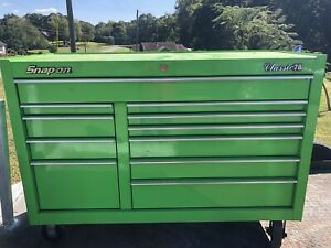 Green Eleven Drawer Snapon Rolling Tool Box Classic 78 With Tools
