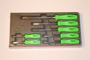 Snap On 7 Piece Rare Green Hard Handle Combination Screwdriver Set New