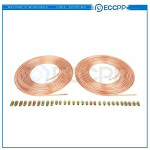 Copper Nickel Brake Line Tubing Kit 3 16 Od 25 Foot Coil Roll Size Fittings
