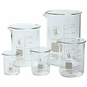 Glass Lab Pyrex Beaker Piece Set Measuring Cup 50 100 250 500 1000 Ml Pack Of 5