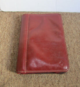 Franklin Covey Easy Plan 7 Ring Bound Binder Planner Red Faux Leather W Zipper