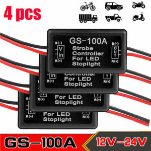 4 Pcs Flash Strobe Controller Box Flasher Module For Led Brake Tail Stop Light