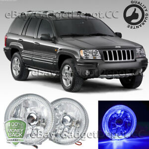 Universal 4 Round Clear Led Fog Light Drl Lamps W Blue Halo Chrome Housing Pair