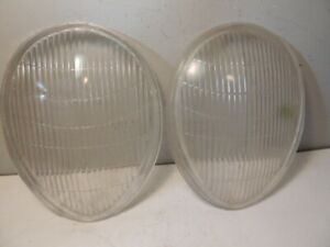 1939 Ford Deluxe And Mercury Pair Headlight Lenses Antique Vintage