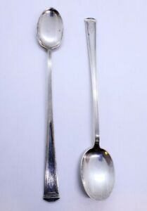 Lot Of 2 Vintage Joseph Seymour 7 3 8 925 Sterling Silver Iced Tea Spoons 1920