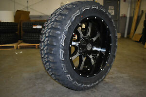20x10 Black A2 Off Road Mo970 33 Mt Wheels Tires 6x5 5 Chevy Silverado 1500