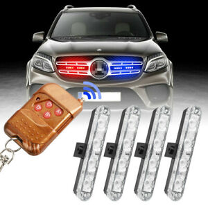 4in1 Car 16 Led Red blue blue Strobe Flash Light Dash Emergency Warning Lamp