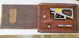 Vtg Starrett Planer Gage Set No 995 With Wooden Case