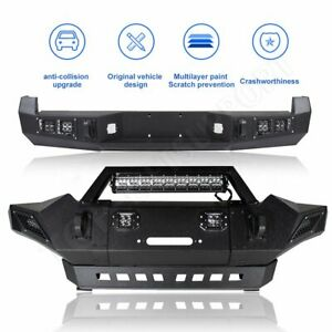 For Toyota Tacoma 2005 2006 2015 Front Rear Bumper Guard Steel W Led Lights