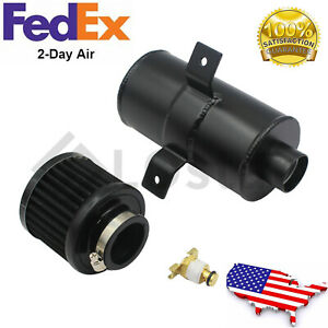 Aluminum 10an Oil Catch Can Reservoir Tank Breather Filter Baffled Kit Black