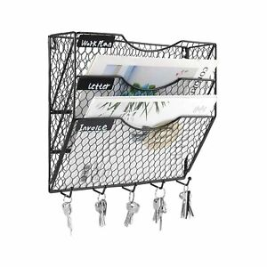 Pag Wall File Holder Hanging Mail Organizer Metal Chicken Wire Wall Mount Mag