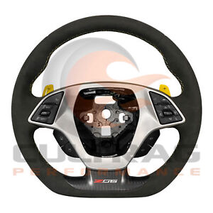 2014 2019 C7 Corvette Z06 Steering Wheel Auto Suede Yellow Stitching Paddles