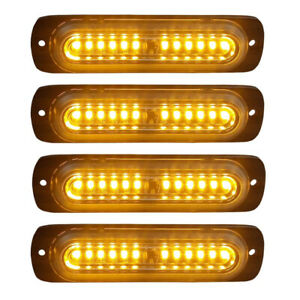 4pcs Amber 12 Led Car Truck Emergency Warning Caution Hazard Flash Strobe Light