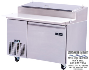 Spartan Refrigeration Spr 50 Refrigerated Counter Pizza Prep Table W casters