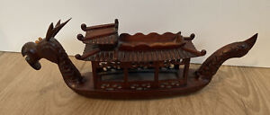 Vintage Antique Asian Chinese Carved Wood Dragon Boat Figurine As Is