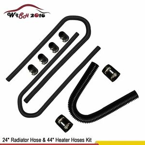 24 Radiator Hose 44 Heater Hoses Kit W Chrome Stainless Steel Clamp Covers
