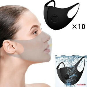 Reusable Washable Foam Sponge Face Mask Covering Breathing Valve Air Filter 10pc