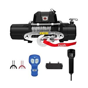 Zeak 12000lb Electric Truck Winch Synthetic Rope Waterproof Off Road For T