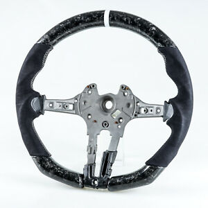 Forged Carbon Fiber Suede White Steering Wheel For Bmw F80 M3 F82 M4 F87 M2