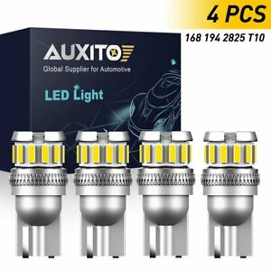Auxito T10 Led License Plate Light Bulb 6500k Super Bright White 168 2825 194 4x