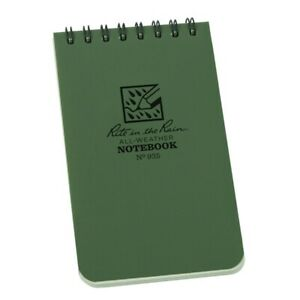 Rite In The Rain 935 All weather Universal Spiral Notebook Green 3 X 5