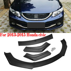 For 2013 2014 2015 Honda Civic 4 Dr Black Front Bumper Lip Body Kit Spoiler Wing
