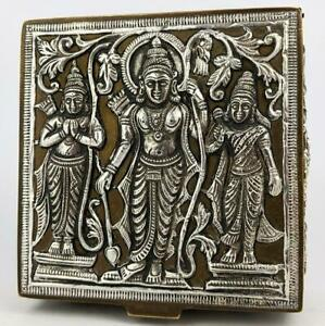 South Indian Tanjore Silver Brass Covered Box C1900