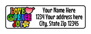 400 Love Peace Joy Personalized Return Address Labels 1 2 Inch By 1 3 4 Inch