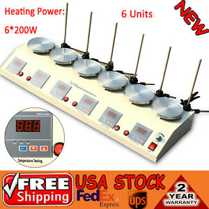 6 Heads Multi Units Digital Thermostatic Magnetic Stirrer Hotplate Mixer 6 25w