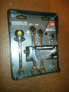 New Ace 4 Pc Sae Gearwrench Combination Ratcheting Wrench Set 3 8 To 9 16