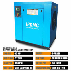Hpdmc 230v Rotary Screw Air Compressor 150psi 3phase Npt Outlet G3 4 15hp 11kw