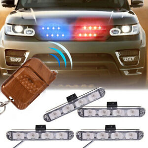 Red Blue Car Truck Dash Strobe Flash Light Emergency Police Warning Lamps 4in1