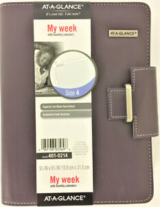 At a glance Terramo Refillable Planner 8 1 2 X 5 1 2 Eggplant 401 0214