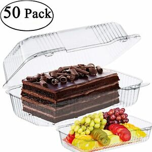 The Bakers Pantry Cake Roll Container Clear Hinged Lid Disposable 9 x 5 Great
