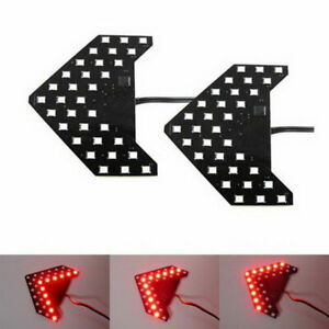 2pcs Red 33 Smd Sequential Led Panel Arrows Car Side Mirror Turn Signal Lights