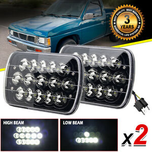 2pcs 5x7 7x6 Inch Led Headlights Hi Lo Beam For Nissan Pickup Hardbody D21 Nx