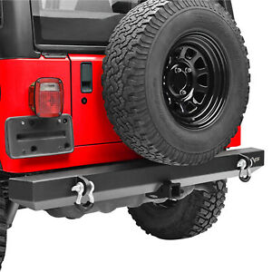 Rear Bumper With 2 Hitch Receiver Off Road Fit For 87 06 Jeep Wrangler Yj Tj