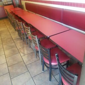 Restaurant Seating 3 Long Booths 7 Tables 14 Chairs Seats 22 People